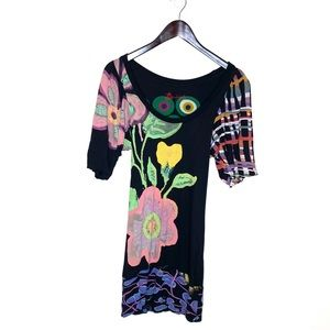 DESIGUAL Floral Long-line Stretch Jersey Tunic